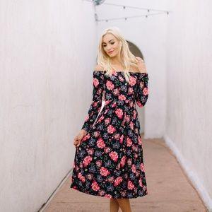 Amelia James Off The Shoulder Floral Maxi Dress